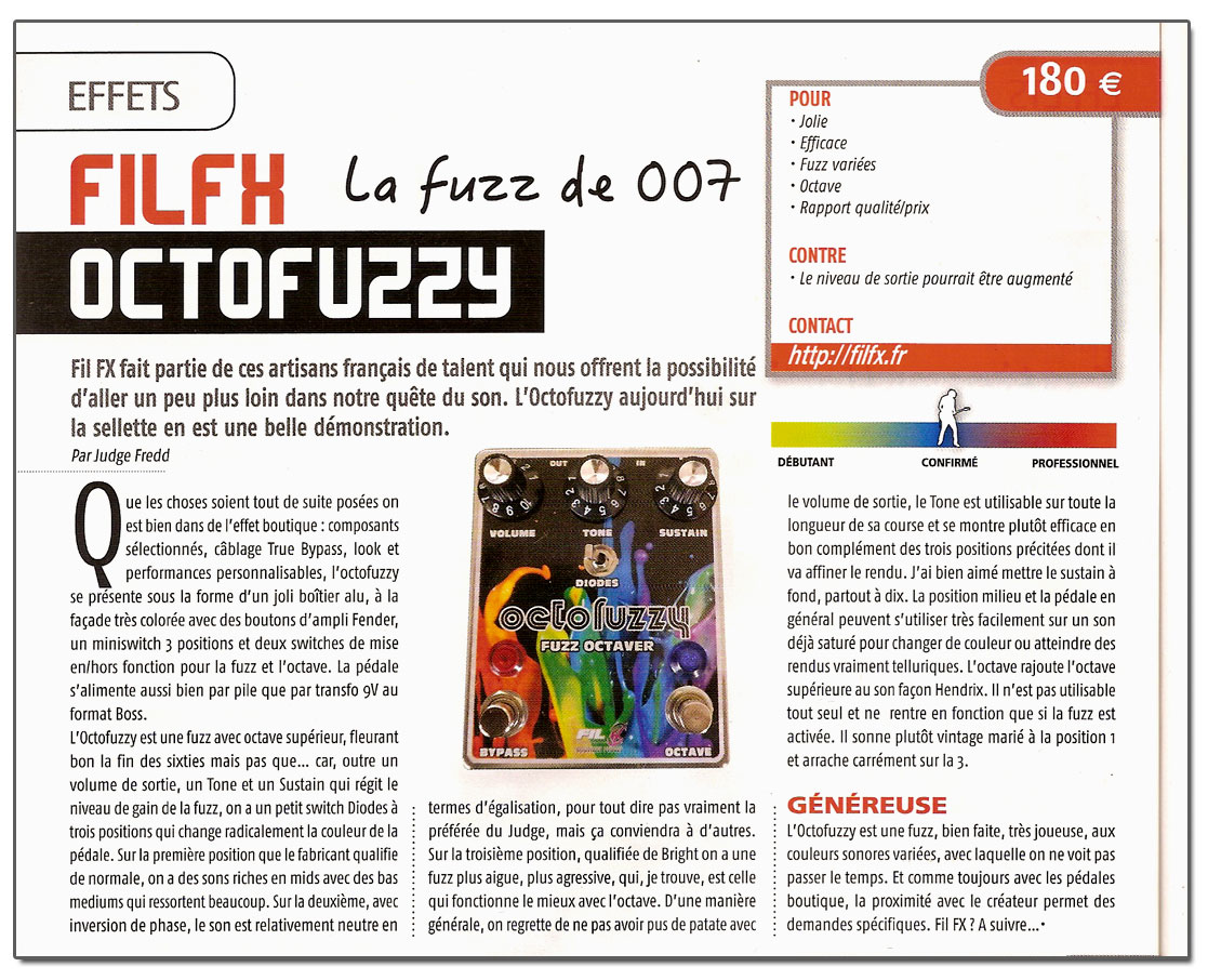 Test Octofuzzy Fil FX par Judge Fredd | Guitare Xtreme 68 Mai Juin 2015